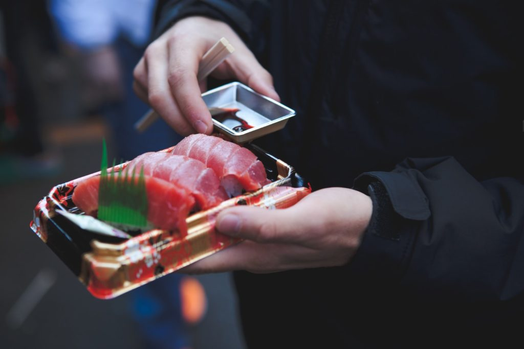 The Tokyo fish markets serve up some delicious Japanese foods, including this Tuna sashimi